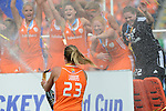 The Hague, Netherlands, June 14: Kim Lammers #23 of The Netherlands celebrates after winning the World Cup Trophy after the field hockey gold medal match (Women) between Australia and The Netherlands on June 14, 2014 during the World Cup 2014 at Kyocera Stadium in The Hague, Netherlands. Final score 2-0 (2-0)  (Photo by Dirk Markgraf / www.265-images.com) *** Local caption ***