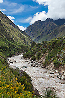 Urubamba river, in the sacred valley near Machu Picchu, Peru, South America.