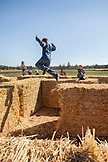 USA, Oregon, Bend, children play on the hay maze at the annual pumpkin patch located in Terrebone near Smith Rock State Park