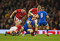 1st February 2020; Millennium Stadium, Cardiff, Glamorgan, Wales; International Rugby, Six Nations Rugby, Wales versus Italy; Sebastian Negri of Italy is tackled by Aaron Wainwright of Wales