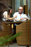 Jean Dujardin enjoying a lunch with an unknown woman - Cannes