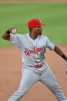 Northwest League All-Star Xavier Turner (9) of the Spokane Indians during the game against the Pioneer League All-Stars at the 2nd Annual Northwest League-Pioneer League All-Star Game at Lindquist Field on August 2, 2016 in Ogden, Utah. The Northwest League defeated the Pioneer League 11-5. (Stephen Smith/Four Seam Images)