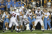 1 October 2006: Brandon Harrison, Ekom Udofia, Will Powers, Tim Sims and Chris Horn celebrate stopping UCLA at the one during Stanford's 31-0 loss to UCLA at the Rose Bowl in Pasadena, CA.