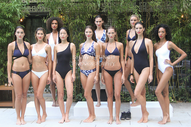 Models pose in swimwear from the Nautica Women's 2016 Swim collection, at Dream Downtown in New York City, August 26, 2016.