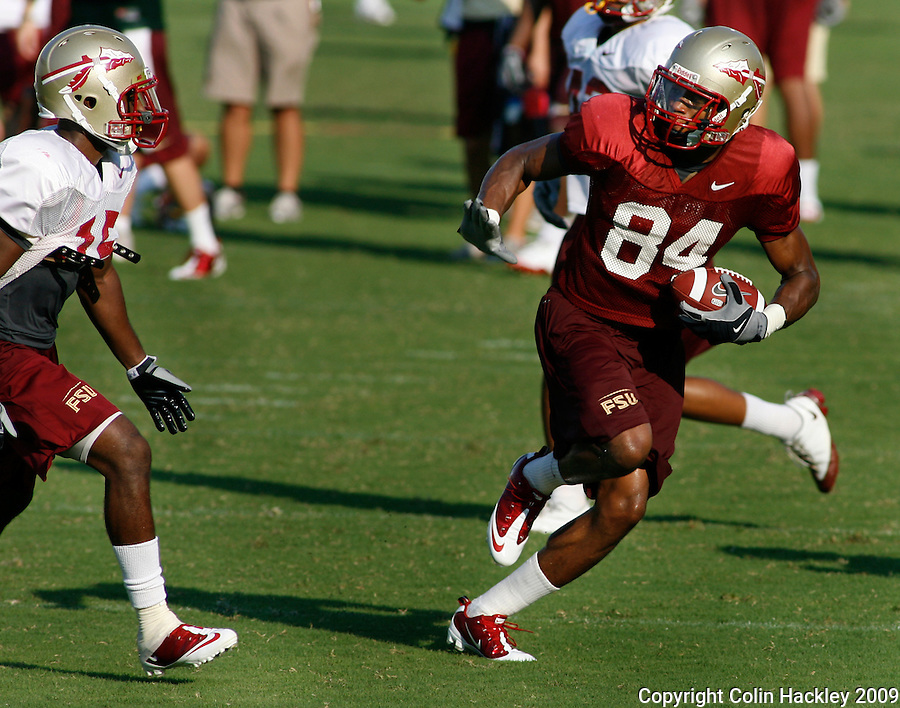 TALLAHASSEE, FL 8/8/10-FSU-080810 CH-Florida State's   Rodney Smith runs with a pass during practice Sunday in Tallahassee. .COLIN HACKLEY PHOTO