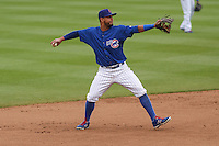 Iowa Cubs infielder Jonathan Mota (5) throws to first base during a Pacific Coast League game against the Colorado Springs Sky Sox on May 11th, 2015 at Principal Park in Des Moines, Iowa.  Colorado Springs defeated Iowa 13-7.  (Brad Krause/Four Seam Images)