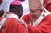 Pope Francis during a mass for the new metropolitan archbishops and the solemnity of Saints Peter and Paul on June 29, 2014 at St Peter's basilica in Vatican.