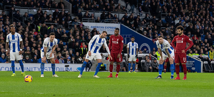 Liverpool's Mohamed Salah prepares to take a penalty to give Liverpool the lead<br /> <br /> Photographer David Horton/CameraSport<br /> <br /> The Premier League - Brighton and Hove Albion v Liverpool - Saturday 12th January 2019 - The Amex Stadium - Brighton<br /> <br /> World Copyright © 2018 CameraSport. All rights reserved. 43 Linden Ave. Countesthorpe. Leicester. England. LE8 5PG - Tel: +44 (0) 116 277 4147 - admin@camerasport.com - www.camerasport.com