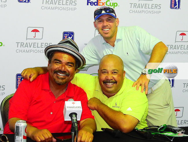 24 JUN 15  Its non stop fun when George Lopez meets ESPN's Mike Collins and Jason Sobel at the Wednesday Pro Am at The Travelers Championship at TPC River Highlands in Cromwell,Ct. . (photo credit : kenneth e. dennis/kendennisphoto.com)