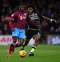 Scunthorpe United's Hakeeb Adelakun vies for possession with Bristol Rovers' Ellis Harrison<br /> <br /> Photographer Chris Vaughan/CameraSport<br /> <br /> The EFL Sky Bet League One - Scunthorpe United v Bristol Rovers - Saturday 11th November 2017 - Glanford Park - Scunthorpe<br /> <br /> World Copyright &copy; 2017 CameraSport. All rights reserved. 43 Linden Ave. Countesthorpe. Leicester. England. LE8 5PG - Tel: +44 (0) 116 277 4147 - admin@camerasport.com - www.camerasport.com