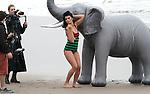 Decemeber 3rd 2012   Exclusive <br /> <br /> Plus size Model &amp; author Crystal Renn filming a music video in Malibu California with a fake Elephant on the beach wearing a swimsuit bikini <br /> <br /> AbilityFilms@yahoo.com<br /> 805 427 3519 <br /> www.AbilityFilms.com