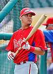 9 March 2012: Philadelphia Phillies catcher Sebastian Valle awaits his turn in the batting cage prior to a Spring Training game against the Detroit Tigers at Joker Marchant Stadium in Lakeland, Florida. The Phillies defeated the Tigers 7-5 in Grapefruit League action. Mandatory Credit: Ed Wolfstein Photo