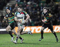 Northampton, England. Nick Easter of Harlequins charges forward during the Aviva Premiership match between Northampton Saints and Harlequins at Franklin's Gardens on December 22. 2012 in Northampton, England.