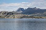 Rocky coastal landscape near Sandnessjoen, Nordland, Norway