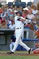 Jordan Pratt #44 of the Hillsboro Hops bats against the Spokane Indians at Hillsboro Ballpark on July 22, 2013 in Hillsboro Oregon. Spokane defeated Hillsboro, 11-3. (Larry Goren/Four Seam Images)