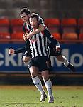 Liam Buchanan celebrates with Pars goalscorer Andy Kirk