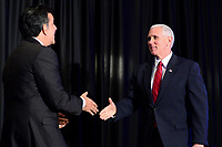 """Washington, DC - March 9, 2017: Vice President Mike Pence greets Hector Barreto, Chairman of The Latino Coalition, before speaking at the """"Make Small Business Great Again Policy Summit"""" hosted by The Latino Coalition at the J.W. Marriott Hotel in the District of Columbia, March 9, 2017.  (Photo by Don Baxter/Media Images International)"""