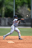 Detroit Tigers infielder Domingo Leyba (68) throws to first during a minor league spring training game against the Houston Astros on March 21, 2014 at Osceola County Complex in Kissimmee, Florida.  (Mike Janes/Four Seam Images)