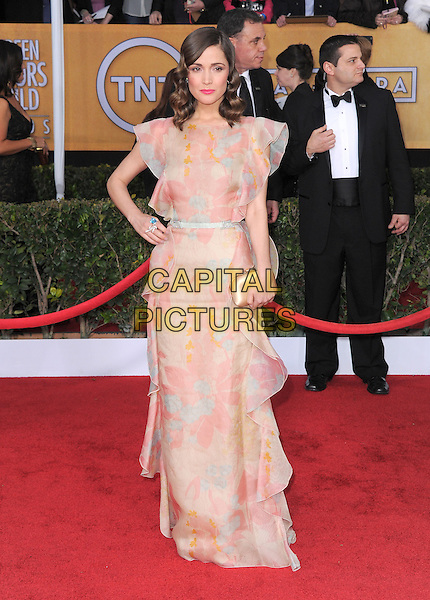Rose Byrne (wearing Valentino).Arrivals at the 19th Annual Screen Actors Guild Awards at the Shrine Auditorium in Los Angeles, California, USA..27th January 2013.SAG SAGs full length dress pink beige ruffle hand on hip clutch bag.CAP/DVS.©DVS/Capital Pictures.