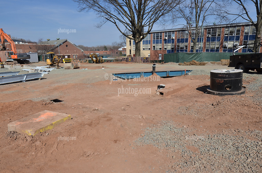 First floor foundations, east end of building. Central Connecticut State University. New Academic Building. Project No: BI-RC-324. Architect: Burt Hill Kosar Rittelmann Associates. Contractor: Gilbane, Inc.