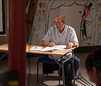 Cuth Earl, ex-board member for Seven Stories, chairing an eveing celebrating the work of Leila Berg and the official opening of her archive at Seven Stories in Newcastle, 19th September 2012.