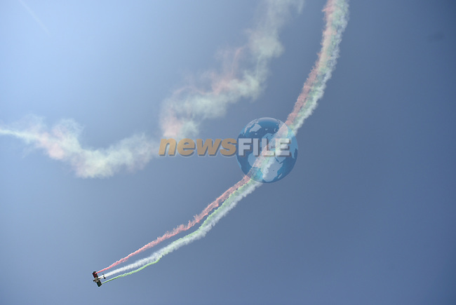 Air display before Stage 20 of the 100th edition of the Giro d'Italia 2017, running 190km from Pordenone to Asiago, Italy. 27th May 2017.<br /> Picture: LaPresse/Fabio Ferrari   Cyclefile<br /> <br /> <br /> All photos usage must carry mandatory copyright credit (&copy; Cyclefile   LaPresse/Fabio Ferrari)