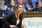 02 January 2014: ODU head coach Karen Barefoot. The Duke University Blue Devils played the Old Dominion University Lady Monarchs in an NCAA Division I women's basketball game at Cameron Indoor Stadium in Durham, North Carolina. Duke won the game 87-63.