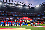 The teams line up for the 2018 FIFA World Cup Russia Final Qualification Round 1 Group G match between Spain and Italy on 02 September 2017, at Santiago Bernabeu Stadium, in Madrid, Spain. Photo by Diego Gonzalez / Power Sport Images