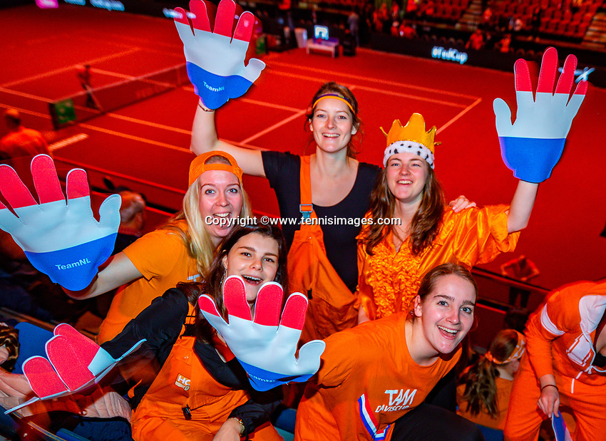 Den Bosch, The Netherlands, Februari 10, 2019,  Maaspoort , FedCup  Netherlands - Canada, first match Sunday : Dutch supporters<br /> Photo: Tennisimages/Henk Koster