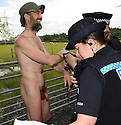 Naked rambler Stephen Gough is arrested by police officers from Fife Constabulary as he approached Townhill, north of Dunfermline.