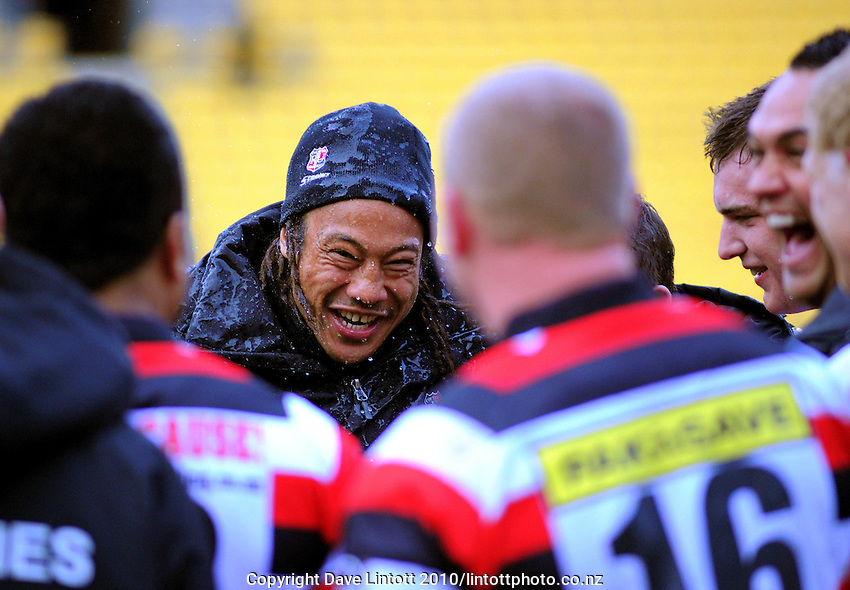 Counties-Manukau coach Tana Umaga celebrates with his team after the win. ITM Cup - Wellington Lions v Counties-Manukau Steelers at Westpac Stadium, Wellington, New Zealand on Sunday, 8 August 2010. Photo: Dave Lintott/lintottphoto.co.nz.