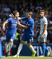 Cesc Fabregas of Chelsea celebrates his goal with Alvaro Morata of Chelsea during the Premier League match between Chelsea and Everton at Stamford Bridge, London, England on 27 August 2017. Photo by Andy Rowland.