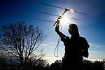 California Condor (Gymnogyps californianus) biologist tracking condors using radio telemetry, Big Sur, California