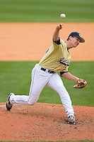 Relief pitcher Andrew Robinson #27 of the Georgia Tech Yellow Jackets in action versus the Florida State Seminoles at Durham Bulls Athletic Park May 23, 2009 in Durham, North Carolina.  (Photo by Brian Westerholt / Four Seam Images)