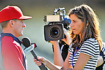 22 July 2011: Washington Nationals broadcaster for MASN Debbi Taylor interviews Rick Eckstein after batting practice prior to a game against the Los Angeles Dodgers at Dodger Stadium in Los Angeles, California. The Nationals defeated the Dodgers 7-2 in their first meeting of the 2011 season. Mandatory Credit: Ed Wolfstein Photo