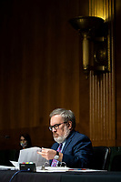 Andrew Wheeler, Administrator, United States Environmental Protection Agency (EPA), reviews his notes during a US Senate Environment and Public Works Committee hearing, on Capitol Hill in Washington, D.C., U.S., on Wednesday, May 20, 2020.<br /> Credit: Al Drago / Pool via CNP/AdMedia