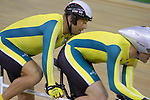 Australia's Keiran Modra and pilot Tyson Lawrence qualify fastest in the men's 4000m individual pursuit (B&VI) in a world record time of 4:18:96 on day one of competition at the Laoshan Velodrome.