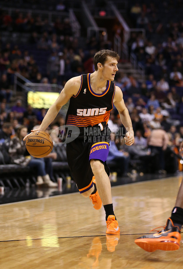 Feb. 10, 2013; Phoenix, AZ, USA: Phoenix Suns point guard Goran Dragic against the Oklahoma City Thunder at the US Airways Center. Mandatory Credit: Mark J. Rebilas-