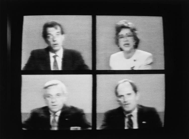 Reporters broadcasted on television on May 20, 1991. (Photo by Laura Patterson/CQ Roll Call via Getty Images)