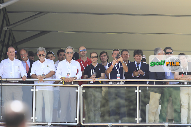 A crowd watching Sergio tee off from the 10th from the balcony of the 18th stand during Round 1 of the Open de Espana  in Club de Golf el Prat, Barcelona on Thursday 14th May 2015.<br /> Picture:  Thos Caffrey / www.golffile.ie