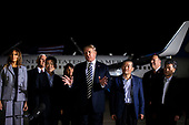 U.S. President Donald Trump speaks beside three American detainees after their arrival from North Korea at Joint Base Andrews, Maryland, U.S., on Thursday, May 10, 2018. North Korea released the three U.S. citizens who had been detained for as long as two years, a goodwill gesture ahead of a planned summit between President Donald Trump and Kim Jong Un that's expected in the coming weeks. Joining Trump is first lady Melania Trump, Vice President Mike Pence, Karen Pence, and Mike Pompeo, U.S. Secretary of State. <br /> Credit: Al Drago / Pool via CNP