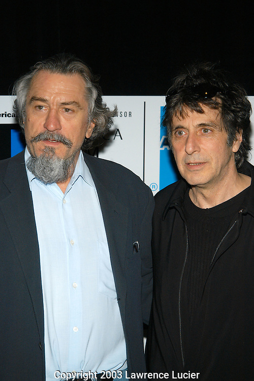NEW YORK - MAY 8:  Actors Robert Deniro (L) and Al Pacino arrive at the screening of An Evening of ..Chinese Coffee and Conversation May 8, 2003, at the Tribeca Film Festival in New York City.