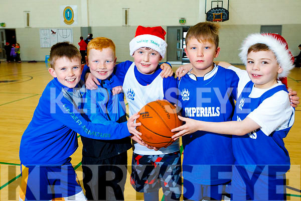 Having a ball of a time at the Mercy Mounthawk School gym for a  Basketball Marathon in aid of the Kerry Hospice. L to R: Conor McGivney, Owen Crowley, Rory Kennedy, Liam O'Connor and Killian Griffin.