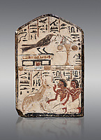 "Ancient Egyptian stele didicated to the swallow and cat by Nebra, limestone, New Kingdom, 19th Dynasty, (1292-1190 BC), Deir el-Medina, Egyptian Museum, Turin. Grey background. Drovetti Cat No 1591.<br /> <br /> In the top register of this votive stele a swallow  (Hirundinidae) is shown perched on top of a shrine. An offering table is placed in front of it on the right side. The bird is called ""the good swallow"". In the lower register Nakhamun and Khay, Nebre's two sons, kneel in adoration in front of a large cat. They both hold a bouquet in their right hand, the left hand is raised in adoration before the good cat"" (Houlihan,1996,87). The swallow and the cat both represent two minor deities, Menet and Tamit, who are  closely connected with the region of the Theban necropolis. It is unusual that this stele has been dedicated by Nebre, the royal craftsman, without him being depicted."