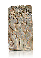 Pictures & images of the North Gate Hittite sculpture stele depicting the Egyptian God Bes. 8the century BC.  Karatepe Aslantas Open-Air Museum (Karatepe-Aslantaş Açık Hava Müzesi), Osmaniye Province, Turkey. Against white background
