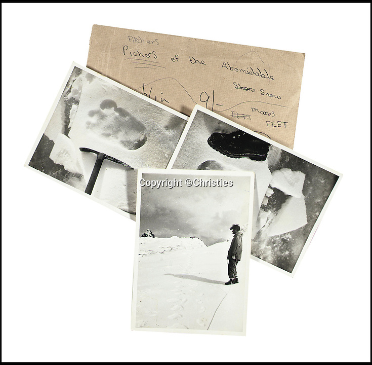 BNPS.co.uk (01202 558833)<br /> Pic: Christies/BNPS<br /> <br /> The pictures and the encasing envelope.<br /> <br /> The first photographs showing what is believed to be the famous 'Yeti' have emerged for sale.<br /> <br /> British explorer Eric Earle Shipton took the historical pictures in 1951 when he was trekking at 19,000ft in the Himalayas.<br /> <br /> He spotted the mysterious 13-inch footprint in the snow and his iconic photograph caused a global stir, which has divided explorers and historians for decades.