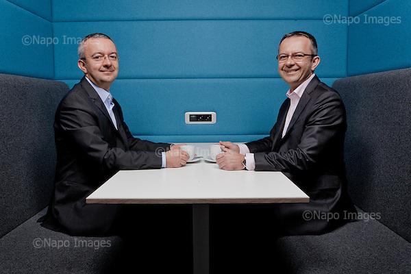 KRAKOW, 7/04/2015:<br /> Bracia Adam i Jerzy Krzanowscy, wlasciciele firmy meblarskiej Nowy Styl, pozuja w salonie sprzedazy swojej firmy.<br /> Fot: Piotr Malecki / Napo Images<br /> <br /> KRAKOW, POLAND, 7/04/2015:<br /> Adam and Jerzy Krzanowski, brothers who run a highly succesful furniture manufacturing firm, Nowy Styl, are posing at the sales outlet of their company.