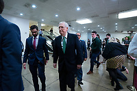 United States Senate Majority Leader Mitch McConnell (Republican of Kentucky) walks through the Senate Subway to attend a closed door briefing in the Senate SCIF with United States Secretary of State Mike Pompeo, United States Secretary of Defense Dr. Mark T. Esper, Gina Haspel, Director, Central Intelligence Agency (CIA), United States Army General Mark A. Milley, Chairman of the Joint Chiefs of Staff, and Acting Director of Intelligence Joseph Maguire at the United States Capitol in Washington D.C., U.S., on Wednesday, January 8, 2020.  97 senators were said to have attended the briefing, which discussed the U.S. drone strike on Iranian military leader Qasem Soleimani and the issue of Congressional authorization for such acts.<br /> <br /> Credit: Stefani Reynolds / CNP/AdMedia