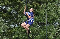 FIERLJEPPEN: JOURE: Accommodatie Koarte Ekers, Fierljepvereniging De Lege Wâlden Joure, 23-06-2012, 1e Klas wedstrijd, Dames A, Grytsje Abma, ©foto Martin de Jong