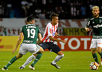 BARRANQUIILLA - COLOMBIA, 01-03-2018: Victor Cantillo (Der) del Atlético Junior de Colombia disputa el balón con Bruno Henrique (Izq) jugador de Palmeiras de Brasil durante partido por la fecha 1, grupo H, de la Copa CONMEBOL Libertadores 2018  jugado en el estadio Metropolitano Roberto Meléndez de la ciudad de Barranquilla. / Victor Cantillo (R) player of Atlético Junior of Colombia struggles the ball with Bruno Henrique (L) player of Palmeiras of Brazil during match for the date 1, group H, of the Copa CONMEBOL Libertadores 2018 played at Metropolitano Roberto Melendez stadium in Barranquilla city.  Photo: VizzorImage/ Alfonso Cervantes / Cont